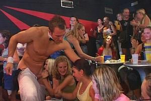 Drunk women sucking cock at strip party